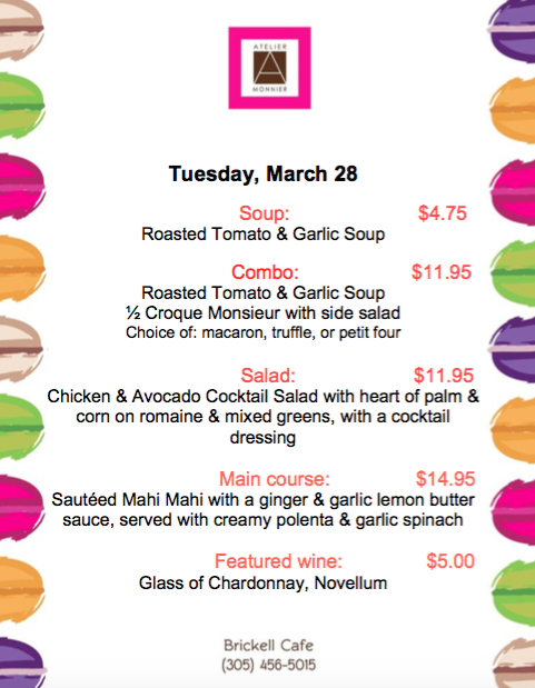 Atelier Monnier- Lunch Specials of the Week