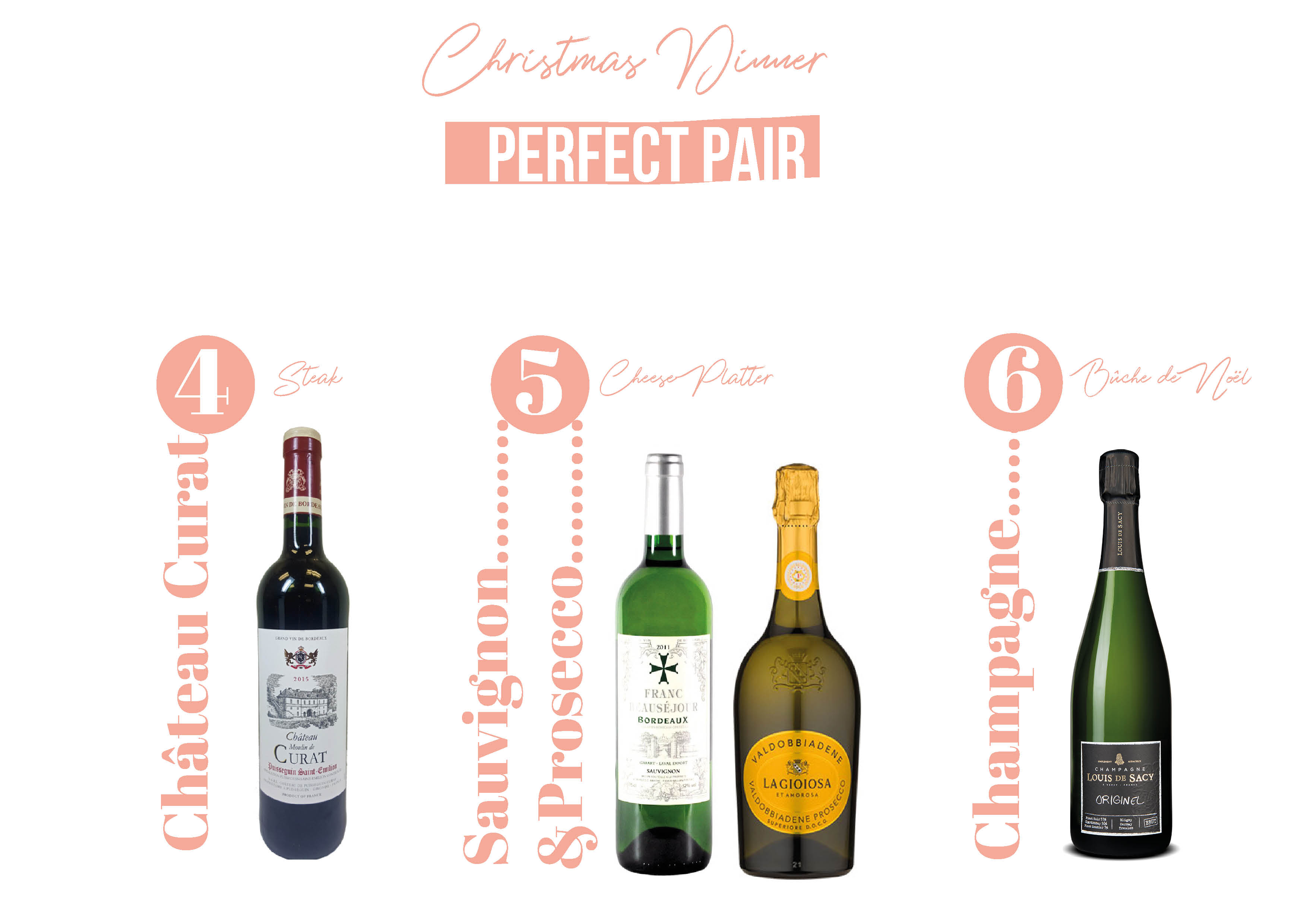 Perfect Pair Christmas Dinner - Wine Pairing Christmas Dinner - Atelier Monnier Fine Wines Boutique Miami, Dadeland, Pinecrest, Brickell, Wine Pairing Miami, Chateau Curat, Sauvignon Blanc, Prosecco, Champagne, Louis de Sacy