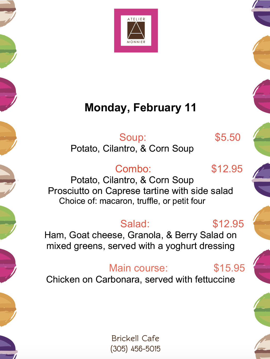 Atelier Monnier Brickell: Lunch Specials of the Week