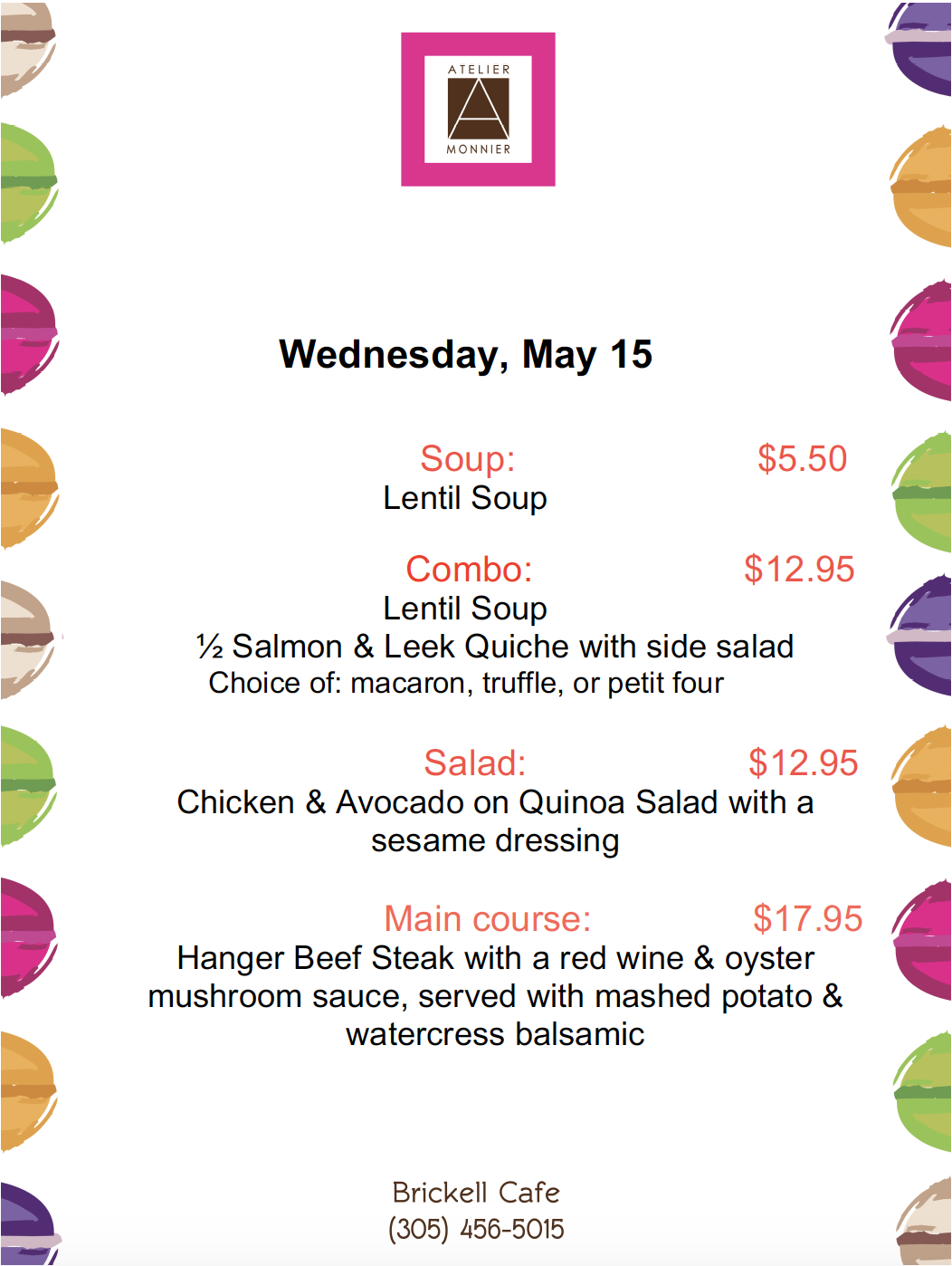 Atelier Monnier Brickell- Lunch Specials of the Week